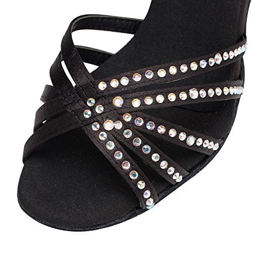 Minitoo Damen Satin-Kristallen, Brautjungfern Dance Shoes Sandalen Schwarz