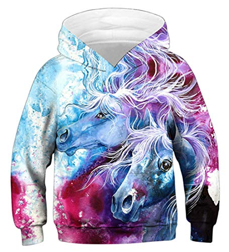Idgreatim Teenager Pullover Mädchen Hoodies 3D Print Sweatshirts Lustige Kapuzenpullover L