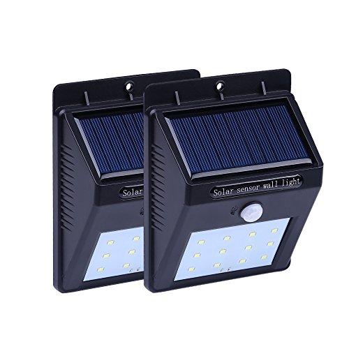 Solarleuchte, ANNT 2 Stücke 12 LED Solarlampe Wandleuchte mit Bewegunssensor + 3 Intelligenten Modi Wasserdicht außen für Garten, Patio, Deck, Hof, Türe, Flur, Terrassen, Wegbeleuchtung