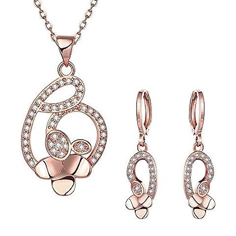 Boucles D'Oreilles En Forme De Trèfle Chanceux À La Mode 2 Pièces,Rose plaqué or