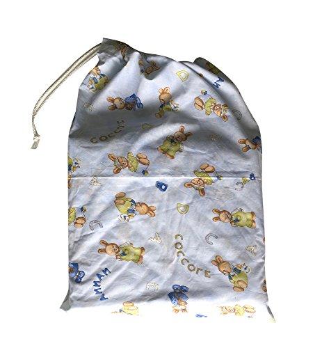 Sacchetto asilo - coniglietti coccole azzurro - 46x60 cm porta indumenti e cambio bimbo