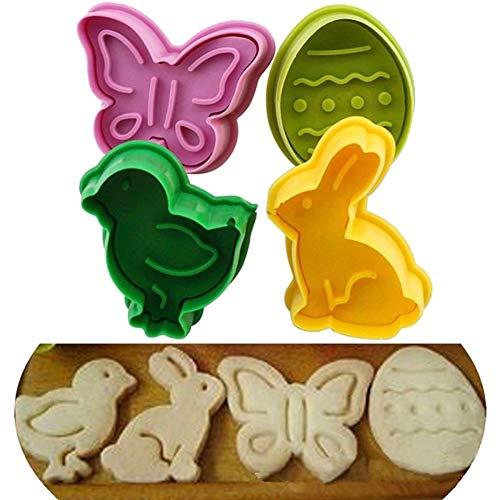 Makwes 4 Stücke Osterei Kaninchen Küken Kuchen Fondant Plunger Cutter Cookie Keks DIY Form,Plätzchenform,Fruchtform,Schokoladenform,Süßigkeitform,Kuchenform, Backform- zufällige Farbe