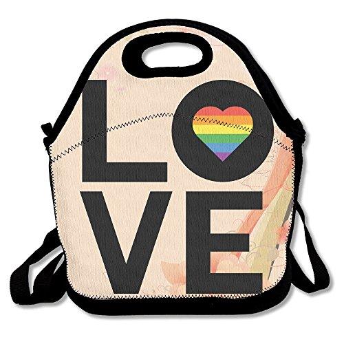 hoeless Rainbow Love Heart Gay Pride–Bolsa para el almuerzo térmica con cremallera, asa y correa para el hombro para adultos o niños negro