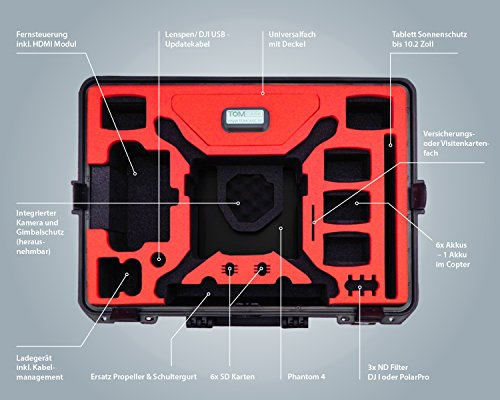 Profi Transportkoffer, Koffer für DJI Phantom 4 Pro / Pro Plus Kopter mit 6 Akkus + Zubehör, wasserdichter Outdoor Case, Hardcase - 3