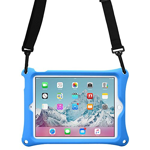 Cover iPad Air 2 / iPad PRO 9.7, Custodia Rigida Cooper Bounce Strap Silicone Maxi Protezione Super Resistente Ottima per Bambini Viaggio Auto Supporto Tracolla con Cavalletto, Blu