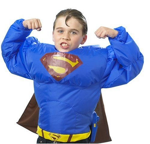 Mattel Supermann - J7019 - Superman's aufblasbarer Anzug mit Umhang (Aufblasbares Superman Kostüm)