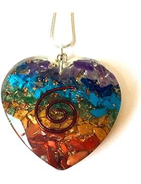 Energetischer Kristall-Anhänger, für Reiki, Chakra-Herz-Orgon mit Silberkette, in wunderschöner Geschenkverpackung