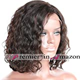 12 inches , 1#Jet Black : Premier short Wavy Lace Front Wigs Brazilian Remy Human Hair Natural Curly Human Hair wigs For women 12inch #1