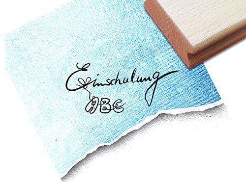 Stempel Textstempel Einschulung mit ABC in Handschrift - Schriftstempel für Einladungskarten zum Schulanfang Kita Schule Basteln Deko - zAcheR-fineT