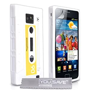 Stylish White And Blue Retro Cassette Tape Silicone Gel Case Cover For The Samsung Galaxy S2 i9100 With Screen Protector Film