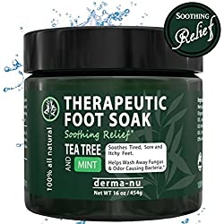Therapeutic Foot Soak - Epsom, Dead Sea Salt, MSM & Tea Tree Oil. Fight Toenail Fungus, Relieve Aches & Pains, Sore Feet & Muscles, Arthritis & Itchy Feet. Natural & Organic Bath Salts - 16oz