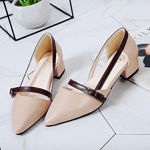 XY&GKFrau Sommer Baotou's Sandalen Frauen Ferse Ferse spitze Schuhe 37 Beige