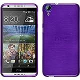 PhoneNatic Case kompatibel mit HTC Desire 820 - lila Silikon Hülle Brushed + 2 Schutzfolien