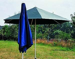 Sonntex Alu Sonnenschirm, 286cm Alu-Facetten-Gestell, Polyesterbezug blau, 6-tlg.