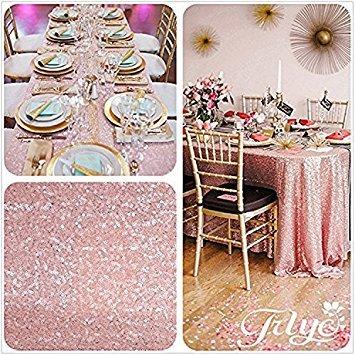 trlyc 228,6cm 335,3cm Hot Sale Benutzerdefinierte Farben erhältlich 6FT Tisch Stoff Pailletten Tischdecke für Hochzeiten oder Events, Sonstige, Blush Pink, 90