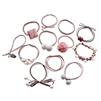 Austinstore Pompom Bowknot Hair Ties Ponytail Holders Hairbands Ropes 12pcs