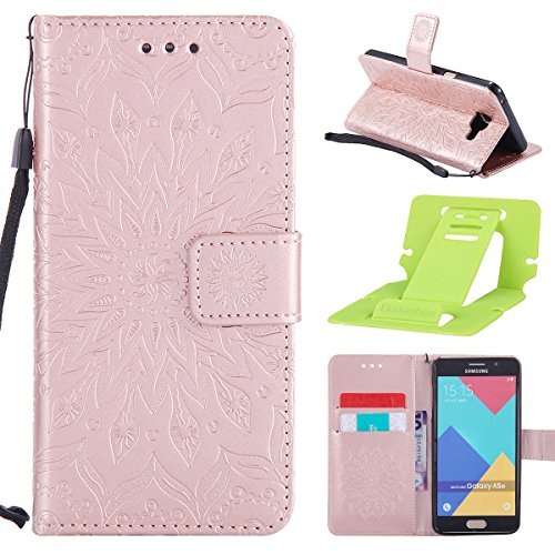 Coque Cuir Etui Pour Samsung Galaxy A5,Galaxy A5 2017 Portable Coque Housse,Ekakashop Jolie Brun Tournesol Painting Bookstyle Rabat Shell Silicone Etui Flip Cover Smart Case Housse de Protection Porte Rose D'or