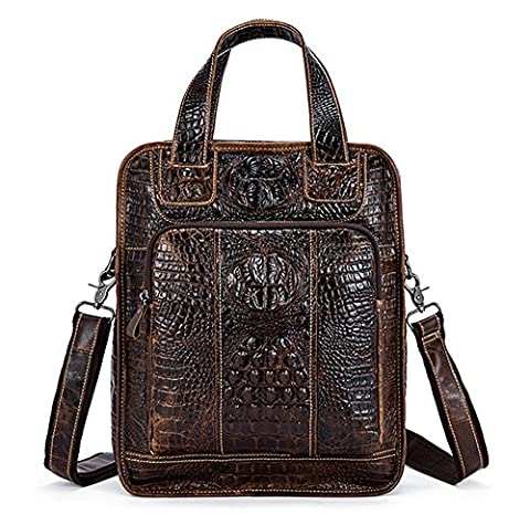 Xinmaoyuan Sacs à main pour hommes Casual Business en cuir véritable motif crocodile MEN'S Messenger Bag, Café