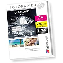 DIAMOND F03D PROFI Fotopapier Hochglanz , 270 g/qm A4 , High-Res bis 5760 dpi , 50 Blatt - weiß