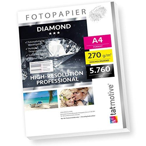 DIAMOND F03D PROFI Fotopapier Hochglanz, 270 g/qm A4, High-Res bis 5760 dpi, 50 Blatt - weiß