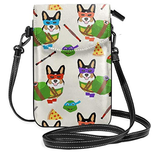 Tri Corgi Ninja Turtle Dog Dogs Cartoon Costume Ha Synthetic Leather Small Crossbody Bags Cell Phone Purse Wallet Smartphone Bags For Women