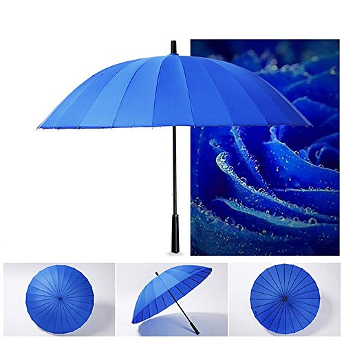 YA-Uzeun Regenschirm, lang, mit 24 Rippen, langlebig und stark genug, manuelles Öffnen und Schließen königsblau