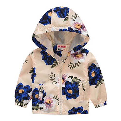 MRULIC Kinder Mädchen Jungen Floral Bedruckter Frühling mit Kapuze Licht Mantel Reißverschluss Jacke Tops Sonnenschutz Kleidung 1-6 Jahre(A-Beige,120-130CM) (1 Essen Licht 20)