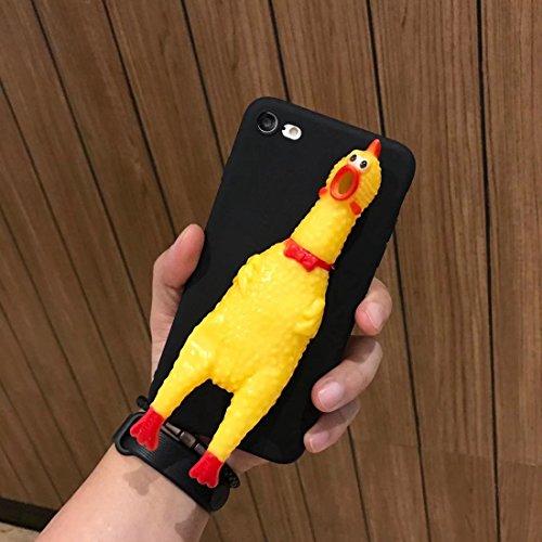 Phone Case & Hülle Für iPhone 6 & 6s, Lustige 3D Silikon Schreiende Huhn Schutzhülle Rückseitige Abdeckung ( Color : Red ) Black