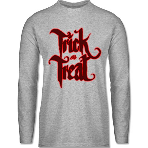 Shirtracer Halloween - Trick or Treat Halloween Typo - Herren Langarmshirt Grau Meliert