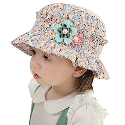 TININNA Bonnet Chapeau de Bébé en Coton pour Bébé Fille en Plein Air Soleil d'été de Imprimé Fleur Anti-UV Bord Vague Casquette Panama Plage Camping pour 1-4 Ans Rose+Bleu