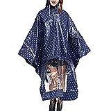 Sasairy Damen Regenponcho mit Kapuze Regenmantel mit Tupfen Muster Wasserdicht Regenjacke für Fahrrad/Motorrad/Reisen/Camping/Wandern(Blau)