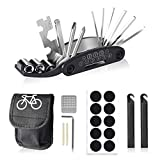 HWeggo Fahrrad Multitool Werkzeug,16 in 1 Multitool Fahrrad Reparatur Set Fahrrad-Multifunktionswerkzeug mit Tasche,Selbstklebendes Fahrradflicken usw