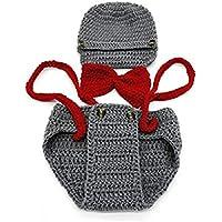 Ropa del bebe - SODIAL(R)Recien nacido bebe hecho a mano punto de ganchillo ropa apoyo foto trajes sombrero+pantalones (tirantes, Gris)