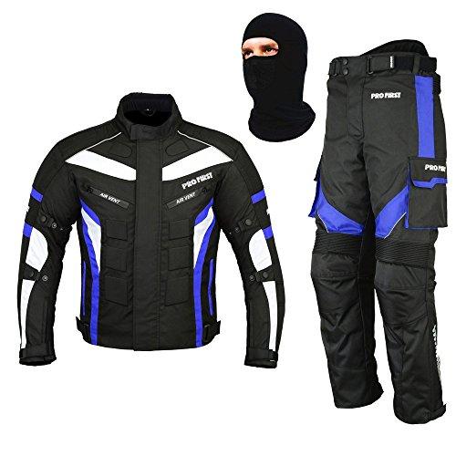 REXTEK All Weather Motorradanzug Gepanzert 2 Stück Anzug Motorrad Motorrad Wasserdichte Anzugjacke + Hosen CE Armor + FREE BALACLAVA - Waschbar Anzug Jacke