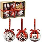 Set von 6 Luxus Weihnachtskugeln Traditionelle Baum Dekoration Xmas Themen Festliche Bälle (Metallic Red Baubles)