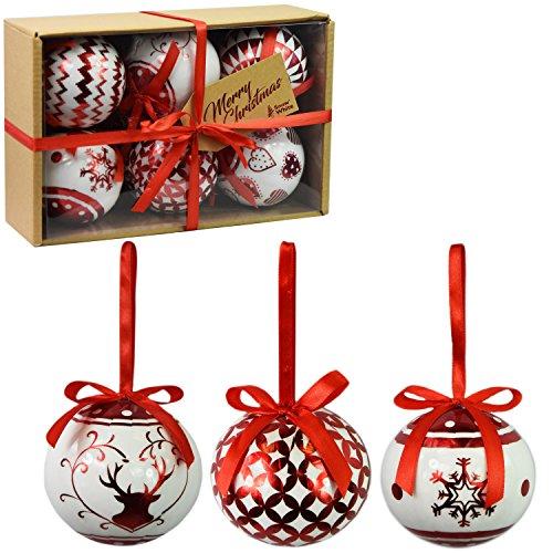 Set di 6 baubles di Natale di lusso Decorazione tradizionale dell'albero Natale Balls Festive Tema (Baubles Rosso Metallico)