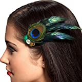 Malloom® venta caliente retro hermosa pluma de pavo real diamantes de imitación pelo del perno del clip horquilla para bride bridal wedding