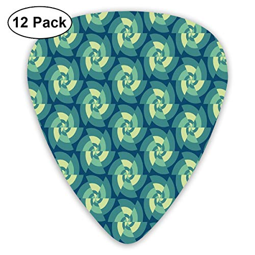 Rock Tile (Guitar Picks - Abstract Art Colorful Designs,Ethnic Fractal Triangles Circular Shapes Retro Style Geometrical Tile,Unique Guitar Gift,For Bass Electric & Acoustic Guitars-12 Pack)