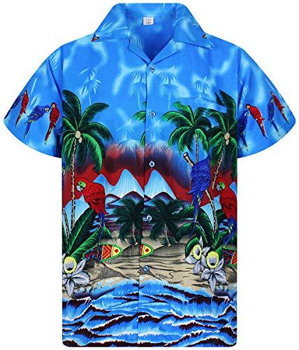 April Kostüm Blumen - V.H.O. Funky Hawaiihemd, Kurzarm, Papagei, blau, XXL