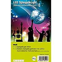 7even - Bola de discoteca LED con motor a pilas y cambio de colores, 20 cm