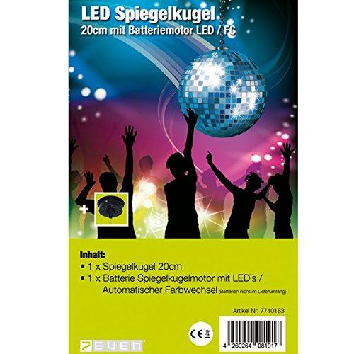 7even LED Spiegelkugel 20cm mit Batteriemotor und Farbwechsel / LED-Spiegelkugelset Batterie 20cm