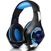 Auriculares Gaming iBeek Headband Sonido Envolvente Estéreo Sobre-Oído Cascos PS4 Juegos Cancelación de Ruido Profesional 3.5 mm con Micrófono Luz LED para PC Ordenador Portátiles (Azul)