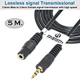 #9: RiaTech® Gold Plated 3.5mm Stereo Audio Male to Female Extension Cable (500cm-5m-15foot)