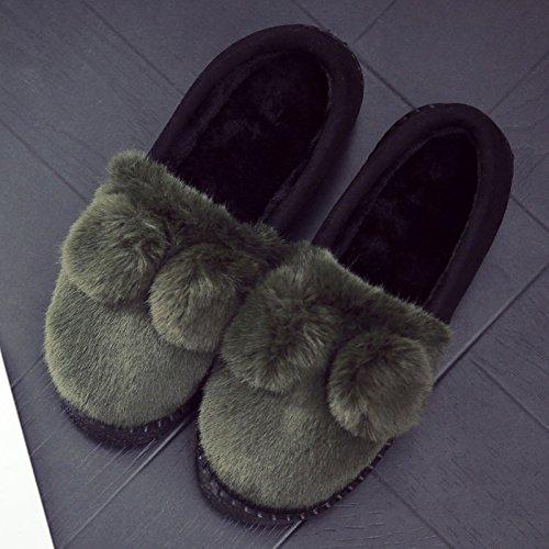 DogHaccd pantofole,La sig.ra Inverno pantofole di cotone home, vestito in eleganti e lussuosi pantofole indoor anti-slittamento scarpe spessa Home Inverno Il verde4
