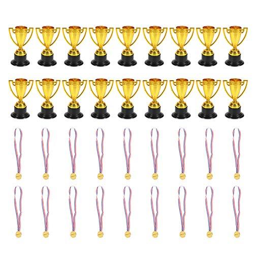 Amosfun 18 PZ Trofeo Sportivo e 18 PZ Medaglie dei Vincitori Coppe Trofeo Riempitrici per Borse da Party Premi in Classe Giocattoli per Bambini Premi Giocattoli di Compleanno