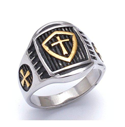 SanJiu Schmuck Herren Ringe Edelstahl Ring mit Kreuz Muster Retro Gotik Biker Punk Klassisch Ring für Herren Schwarz Gold Größe 70 (22.3) (Tee Nacht Mens)