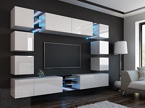 Wohnwand E Weiß Hochglanz✔ Gehärtetes Glas ✔ ABS- Kanten ✔ Kanten in Hochglanz ✔ MDF-Fronten ✔ LED Beleuchtung ✔ Push To Open ✔ Grifflos ✔ Modern ✔ Design ✔neue bessere Version (anderer Hersteller)