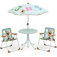 Preisvergleich für Disney Winnie Pooh Tisch 2 Stühle Schirm Kindertisch Gartenmöbel Puuh Bär 89510