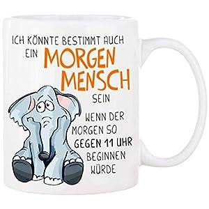 Cadouri Tasse mit Spruch MORGENMENSCH Kaffeetasse Bürotasse Sprüchetasse – 300 ml