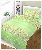 Blueberryshop 2Piece Baby culla piumino e federa set di biancheria da letto, 150cm di lunghezza x 120cm di larghezza, verde Happy Teddy